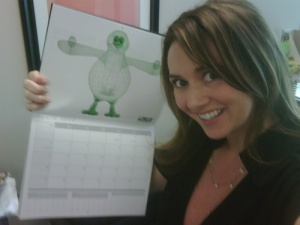 Carlie pimping the 2010 Linux Journal wall calendar.
